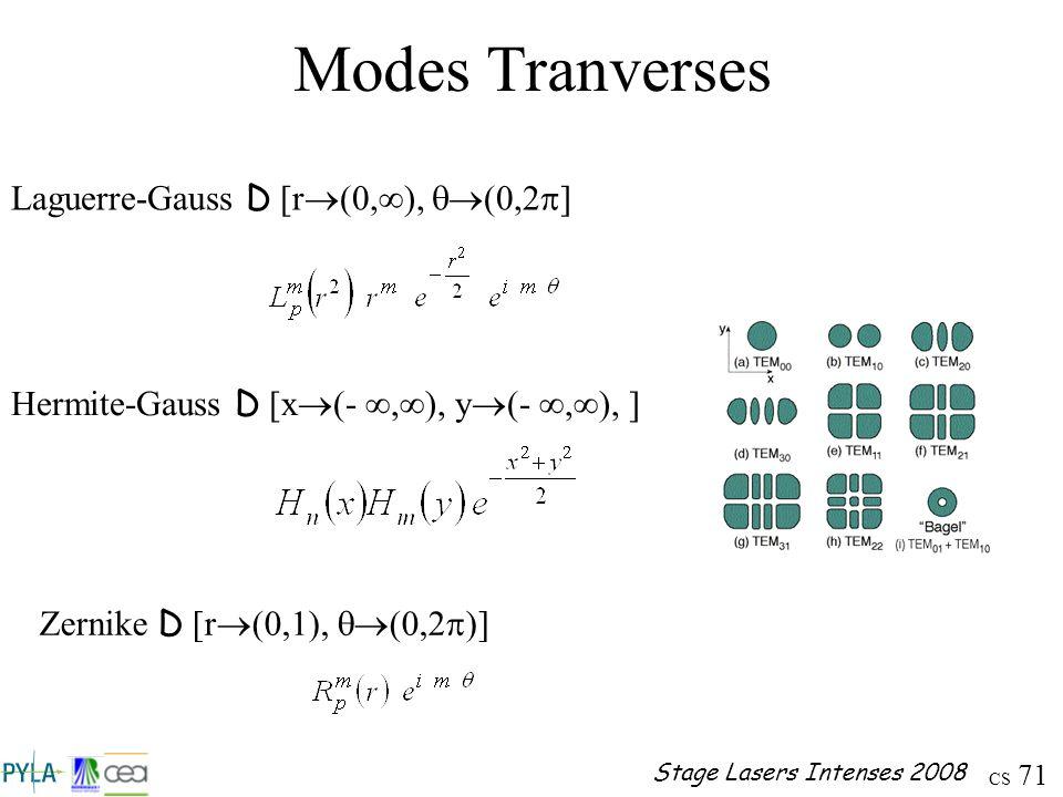 Modes Tranverses Laguerre-Gauss D [r(0,), q(0,2p]